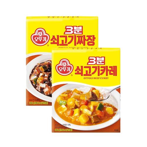 오뚜기 3분 쇠고기카레 6개 + 짜장 6개/총12개