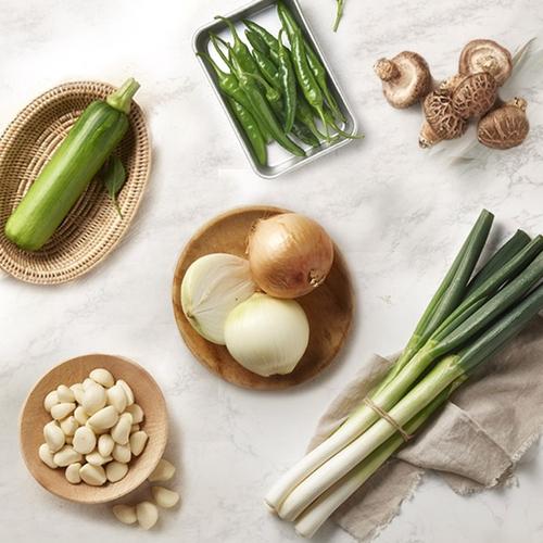 [새벽배송][우리가락]기본채소 라이트세트 / 대파/양파/표고버섯/마늘/고추/애호박