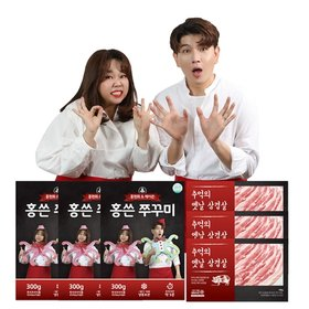 홍현희제이쓴 홍쓴 쭈꾸미 300g*6팩 + 추억의 옛날삼겹살 180g*6팩